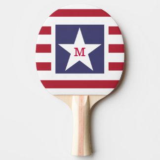 Customizable Stars and Stripes USA Momogram Ping-Pong Paddle