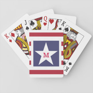 Customizable Stars and Stripes USA Momogram Poker Cards