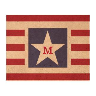 Customizable Stars and Stripes USA Momogram Photo Cork Paper