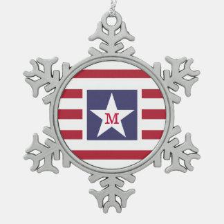 Customizable Stars and Stripes USA Momogram Snowflake Pewter Christmas Ornament