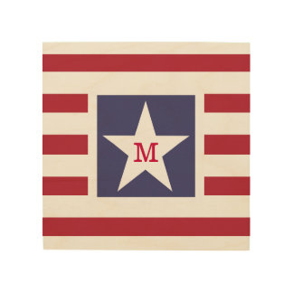 Customizable Stars and Stripes USA Momogram Wood Wall Art