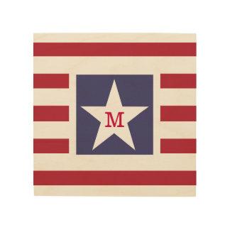Customizable Stars and Stripes USA Momogram Wood Wall Decor