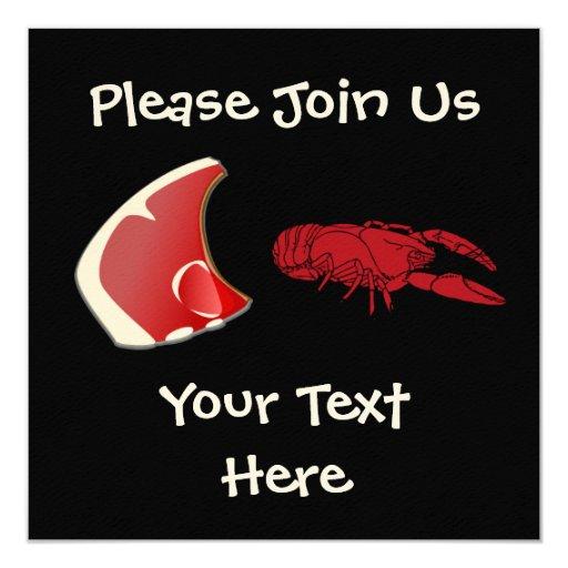 "Customizable Steak and Lobster  Invitation 5.25"" Square Invitation Card"