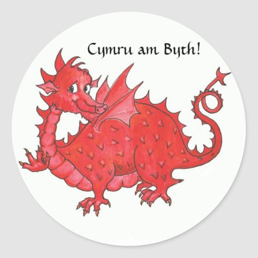 Customizable Stickers with Cute Welsh Red Dragon