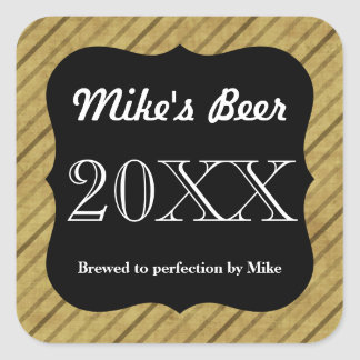 Customizable Striped Beer Bottle Label