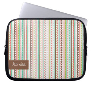 Customizable Striped Laptop Sleeve with Your Name