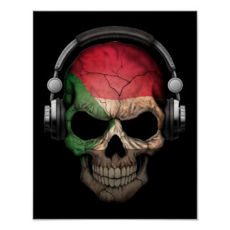 Customizable Sudanese Dj Skull with Headphones Poster