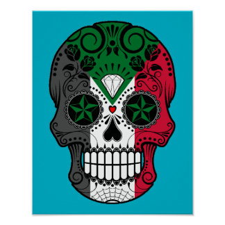 Customizable Sudanese Flag Sugar Skull with Roses Poster