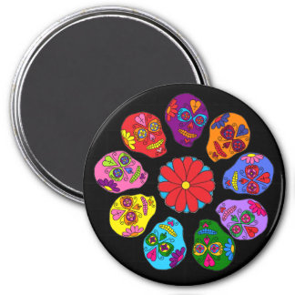 Customizable Sugar Skull Flower 3 Inch Round Magnet