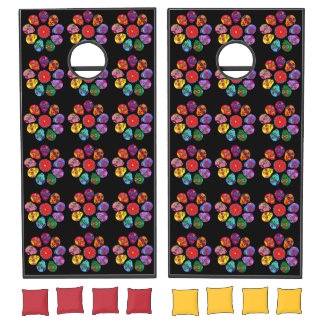 Customizable Sugar Skull Flowers Cornhole Set