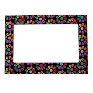 Customizable Sugar Skull Flowers Magnetic Photo Frame