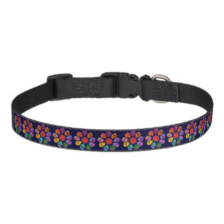 Customizable Sugar Skull Flowers Pet Collar