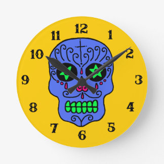 Customizable Sugar Skull Round Clock