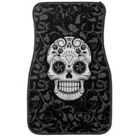 Customizable Sugar Skull with Gray Vines and Roses Car Floor Mat
