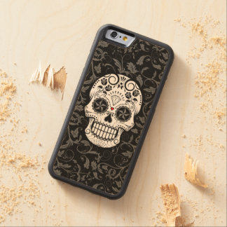 Customizable Sugar Skull with Gray Vines and Roses Carved Maple iPhone 6 Bumper Case
