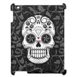 Customizable Sugar Skull with Gray Vines and Roses Cover For The iPad 2 3 4