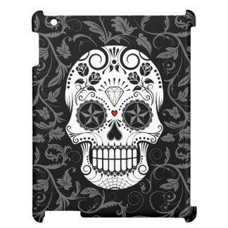 Customizable Sugar Skull with Gray Vines and Roses iPad Cases
