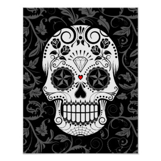 Customizable Sugar Skull with Gray Vines and Roses Poster