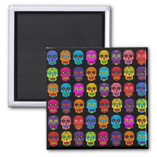 Customizable Sugar Skulls 2 Inch Square Magnet