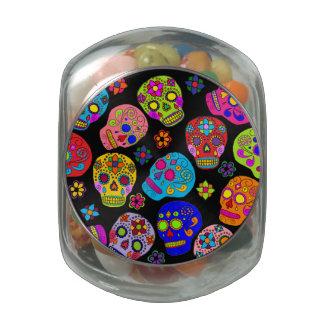Customizable Sugar Skulls Glass Candy Jar