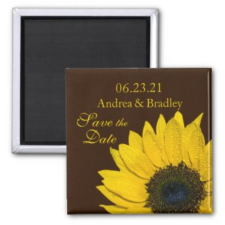 Customizable Sunflower Save the Date Magnet magnet