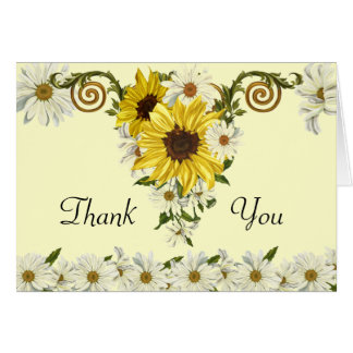 Customizable Sunflowers - Daisies Thank You card