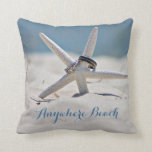 Customizable Sunny Beach With Starfish Rings Throw Pillow