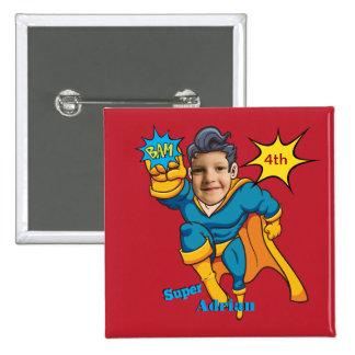 Customizable Superhero Birthday Personalize Button