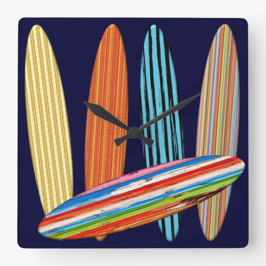 Customizable Surfboards Square Wall Clock