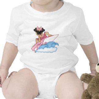 Customizable Surfer Pug Girl - Pink Tshirts