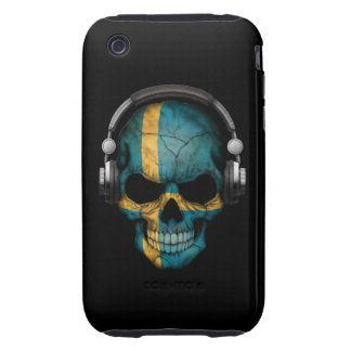 Customizable Swedish Dj Skull with Headphones Tough iPhone 3 Covers
