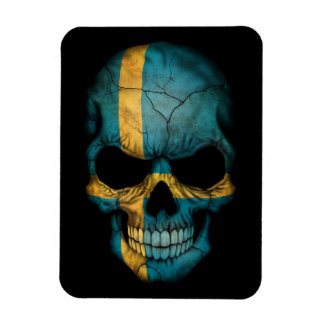 Customizable Swedish Flag Skull Magnet