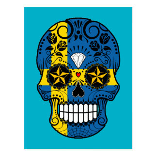 Customizable Swedish Flag Sugar Skull with Roses Postcard
