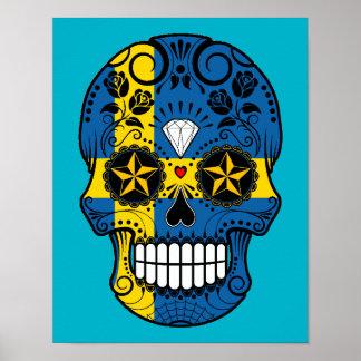 Customizable Swedish Flag Sugar Skull with Roses Print