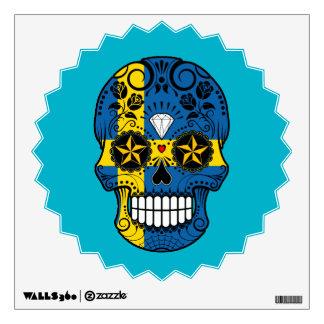 Customizable Swedish Flag Sugar Skull with Roses Room Graphics