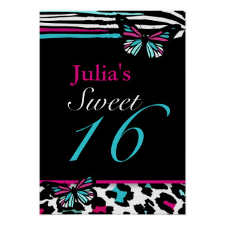 Customizable Sweet 16 Animal Print Butterfly Poste