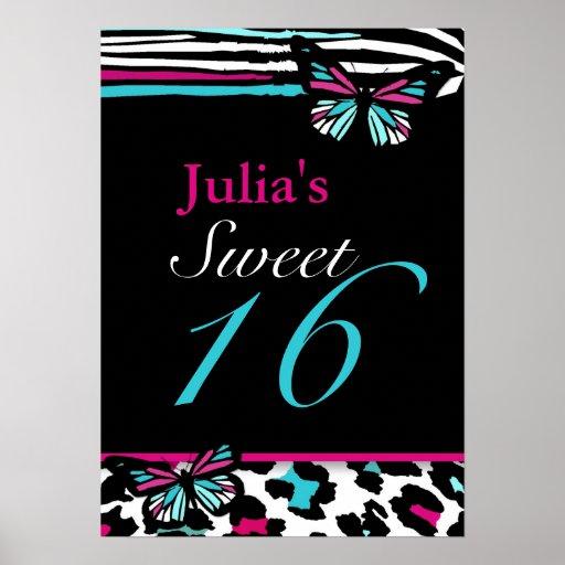 Customizable Sweet 16 Animal Print Butterfly Poste
