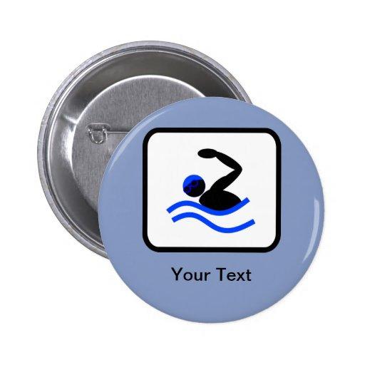 Customizable Swimmer Logo Pinback Button