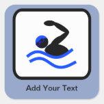 Customizable Swimmer Logo Square Sticker
