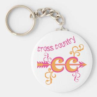 Customizable Swirls Cross Country Pink Orange Keychain