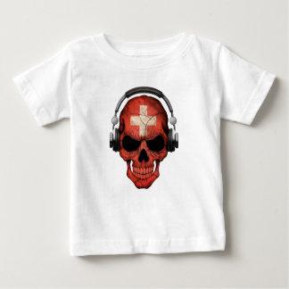 Customizable Swiss Dj Skull with Headphones Tee Shirt