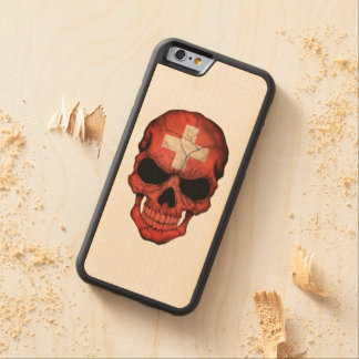 Customizable Swiss Flag Skull Carved Maple iPhone 6 Bumper Case