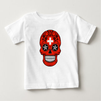Customizable Swiss Flag Sugar Skull with Roses T-shirts