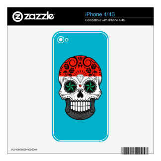 Customizable Syrian Flag Sugar Skull with Roses Decal For iPhone 4