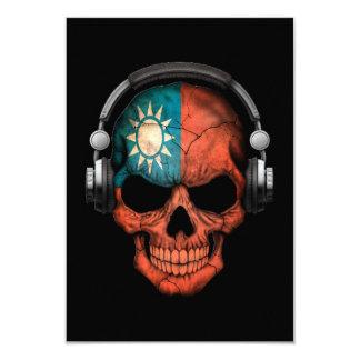 Customizable Taiwanese Dj Skull with Headphones 3.5x5 Paper Invitation Card