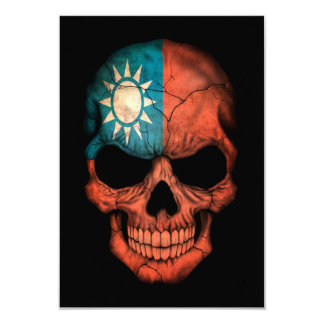 Customizable Taiwanese Flag Skull 3.5x5 Paper Invitation Card