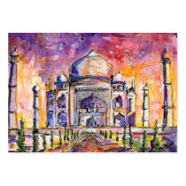 india, taj mahal, love, buildings, art, paintings, travel, pink, customizable cards, ginette, watercolors, Business Card with custom graphic design