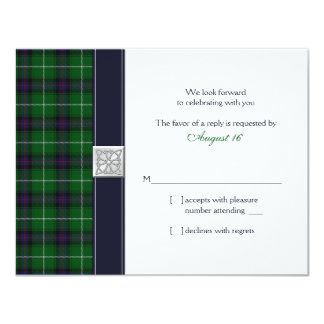 Customizable Tartan Celtic Wedding Reply Card