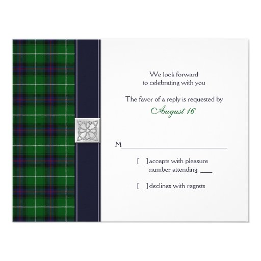 Customizable Tartan Celtic Wedding Reply Card Personalized Invite
