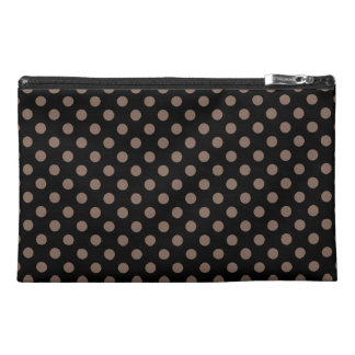 Customizable Taupe on Black Polka Dots Travel Accessory Bag